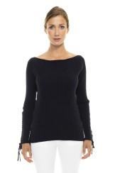 Paris Picked Lace Up Sweater   black