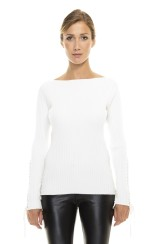 Paris Picked Lace Up Sweater   white