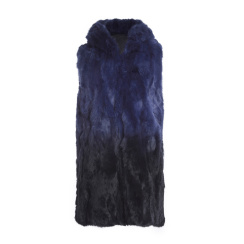 Tavus Milano Long Vest With Hood | degrade blue to black
