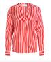 Herzen's Angelegenheit Stripe Silk Satin Stretch Blouse | red & white - 44