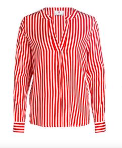 Herzen's Angelegenheit Stripe Silk Satin Stretch Blouse | red & white - 38