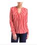 Herzen's Angelegenheit Stripe Silk Satin Stretch Blouse | red & white