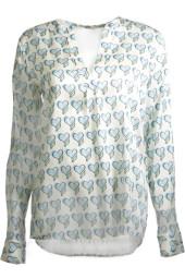 Herzen's Angelegenheit Silk Blouse with Heart Print | light blue & green