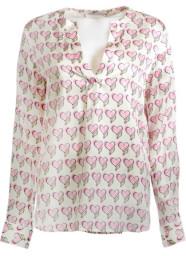 Herzen's Angelegenheit Silk Blouse with Heart Print | pink & green