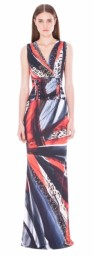 Roberto Cavalli Long Draped Dress | multi