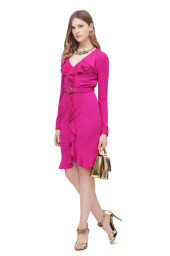 Roberto Cavalli Silk Jersey Dress With Ruffle | Bright Pink