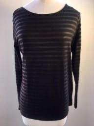 Majestic Boatneck Deluxe Stripe Teeshirt | black & graphite