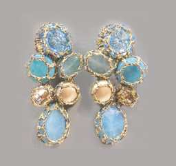Boks &  Baum Earrings clips| Light Blue & Beige