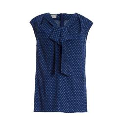 Maison Common Heart Print Bow Blouse | Navy Light Blue