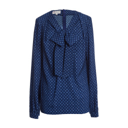 Maison Common Long-sleeve Heart Print Bow Blouse   Navy Light Blue