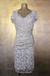 Olvis' Shimmer Lace Dress | Creme & Silver  (Please contact boutique to order)