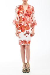 Roberto Cavalli Coral Reef Stretch Jersey and Silk Dress  | coral