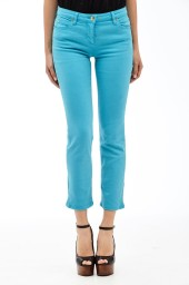 Roberto Cavalli Cropped Stretch Denim Trousers | Turquoise