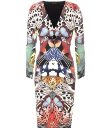 Roberto Cavalli Flying Wings Printed Stretch Jersey Dress | multi