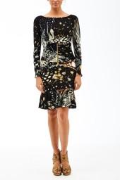 Roberto Cavalli Shells Print Dress | black & brown