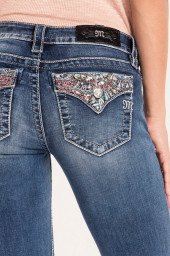 Miss Me Dream On Mid-Rise Bootcut Jeans  faded blue