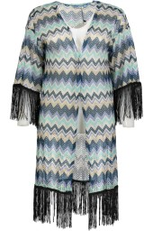 Paris Missoni Style Cardigan with Black Fringes