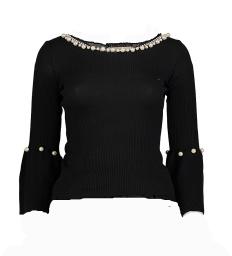 Paris Black Top with Pearls
