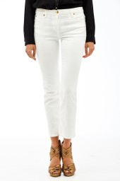 Roberto Cavalli Cropped Stretch Denim Trousers | white