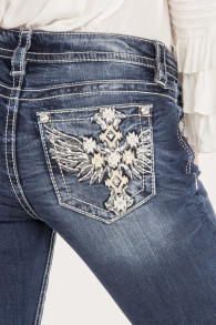 Miss Me Take Off Mid-Rise Straight Jeans   faded blue - 27