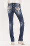 Miss Me Take Off Mid-Rise Straight Jeans | faded blue