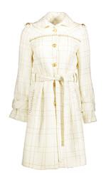 Paris Tweed Trench Coat | Cream & Gold