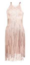 Paris Band Dress with Fringes / Light Rose