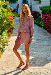 MELLISA ODABASH NADJA EMBROIDERED SHORT DRESS DUSTY ROSE