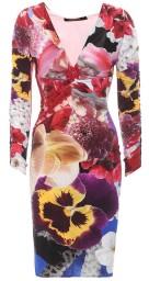 Roberto Cavalli Araki Peonies Flower Print Longsleeved Jersey Dress | floral