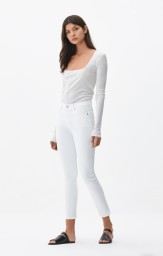 CITIZENS OF HUMANITY CARA HIGH RISE CIGARETTE ANKLE | SCULPT WHITE