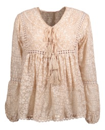 PARIS PICKED POET BLOUSE |CHAMPAGNE