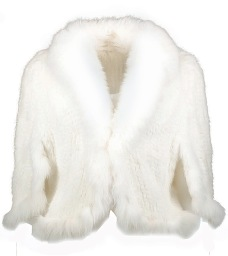 Mink Knitted Bolero | white (please contact boutique to order more pieces)