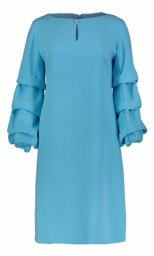 PARIS TURQOISE LONG RUFFLE SLEEVE DRESS