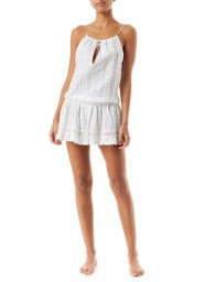 MELISSA ODABASH CHELSEA EMBROIDERED SHORT DRESS WHITE