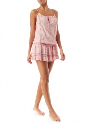 MELISSA ODABASH CHELSEA EMBROIDERED SHORT DRESS PINK