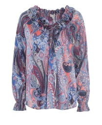 DEA KUDIBAL ASHLEY PAISLEY STRETCH SILK BLOUSE