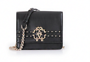 CAVALLI DUCHESS BAG | BLACK & GOLD STUDS
