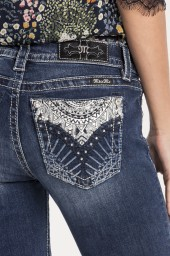 Miss Me  Blue Embroidery Skinny Jeans