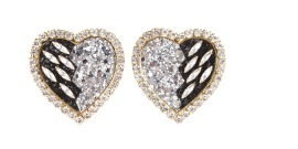SHOUROUK BLACK AND CRYSTAL HEARTS