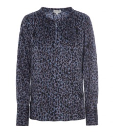 DEA KUDIBAL SEATTLE STRETCH SILK SHIRT | BLUE LEOPARD