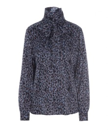 DEA KUDIBAL MORGAN  STRETCH SILK BLOUSE | LEOPARD BLUE