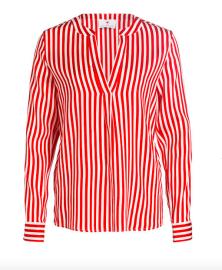 Herzen's Angelegenheit Stripe Silk Satin Stretch Blouse   red & white