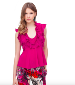 Roberto Cavalli Top with Frills and Flounces | fuchsia