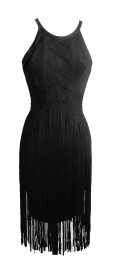 PARIS TASSELS BAND DRESS - BLACK