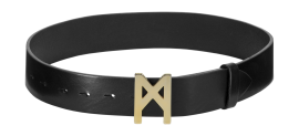 MARTA LARSSON LEATHER GOLD LOGO BELT