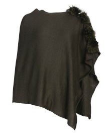 FRONTROW PONCHO FRONTROW PONCHO RACOON POMS FOREST GREEN