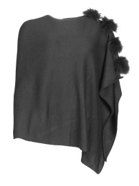 FRONTROW PONCHO RACOON POMS GREY