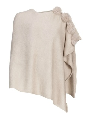 FRONTROW LIVING - PONCHO RACOON POMS BEIGE