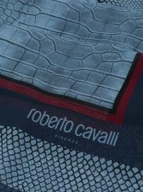 ROBERTO CAVALLI SILK SCARF | BLUE CROCODILE