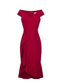 SINGOALLA RED DRESS WITH RUFFLE